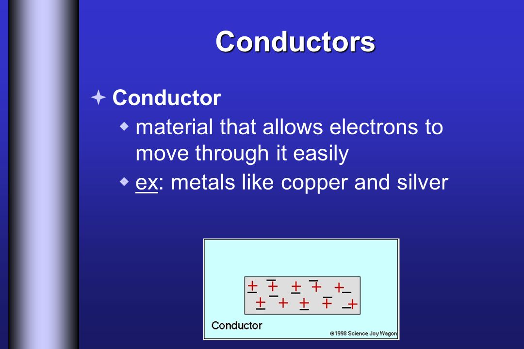 Conductors Conductor. material that allows electrons to move through it easily.