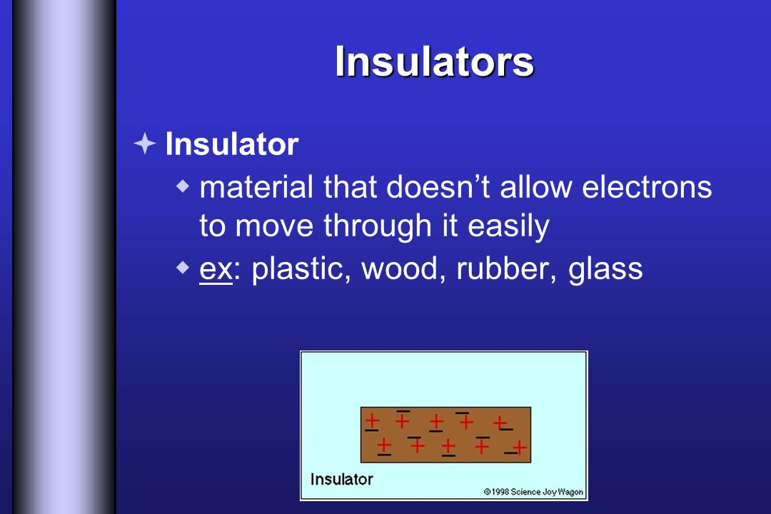 Insulators Insulator. material that doesn't allow electrons to move through it easily.