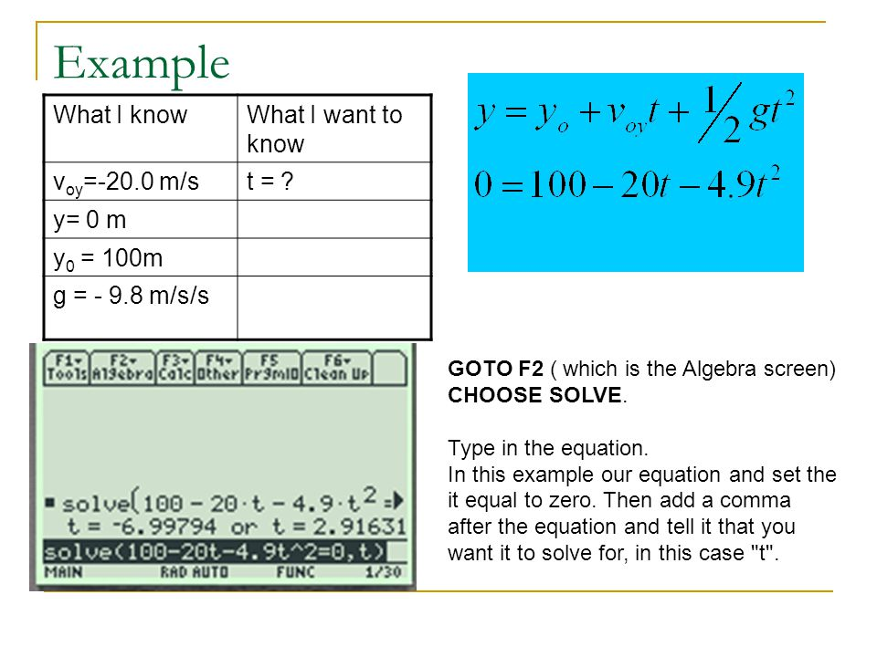 Example What I know What I want to know voy=-20.0 m/s t = y= 0 m