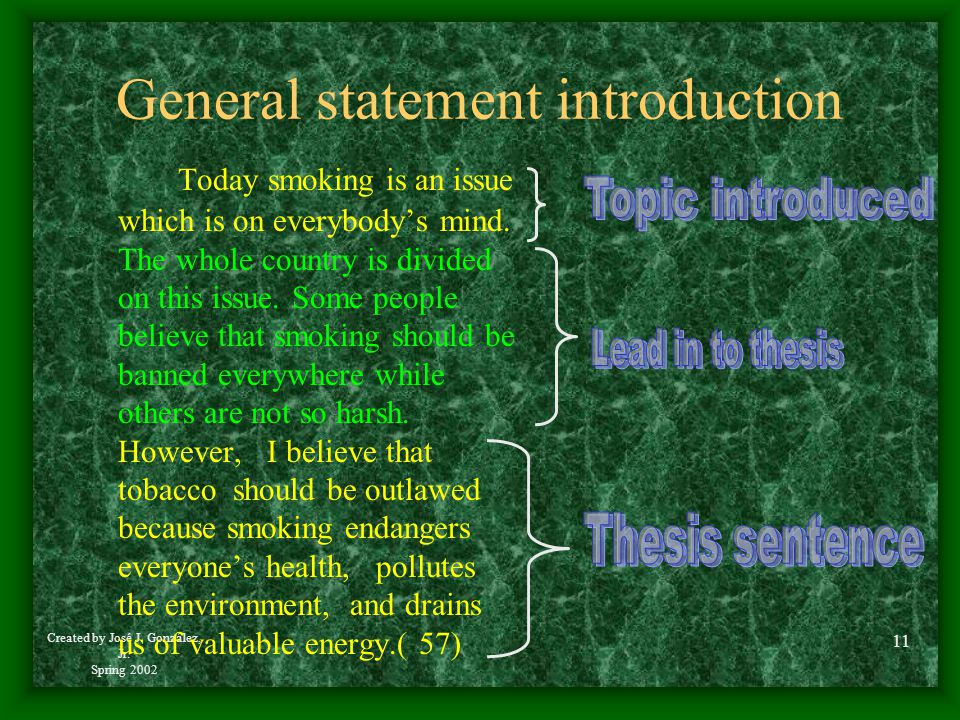 General statement introduction