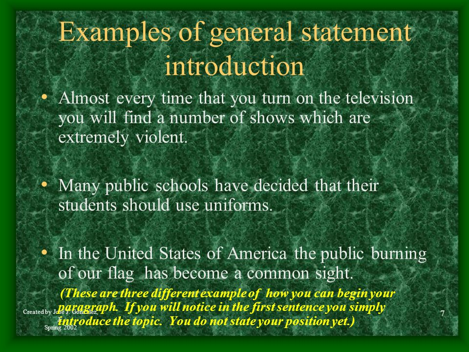 Examples of general statement introduction