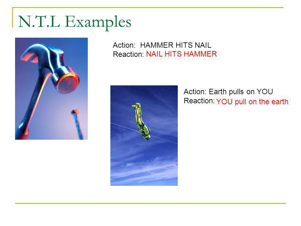 N.T.L Examples Action: HAMMER HITS NAIL Reaction: NAIL HITS HAMMER