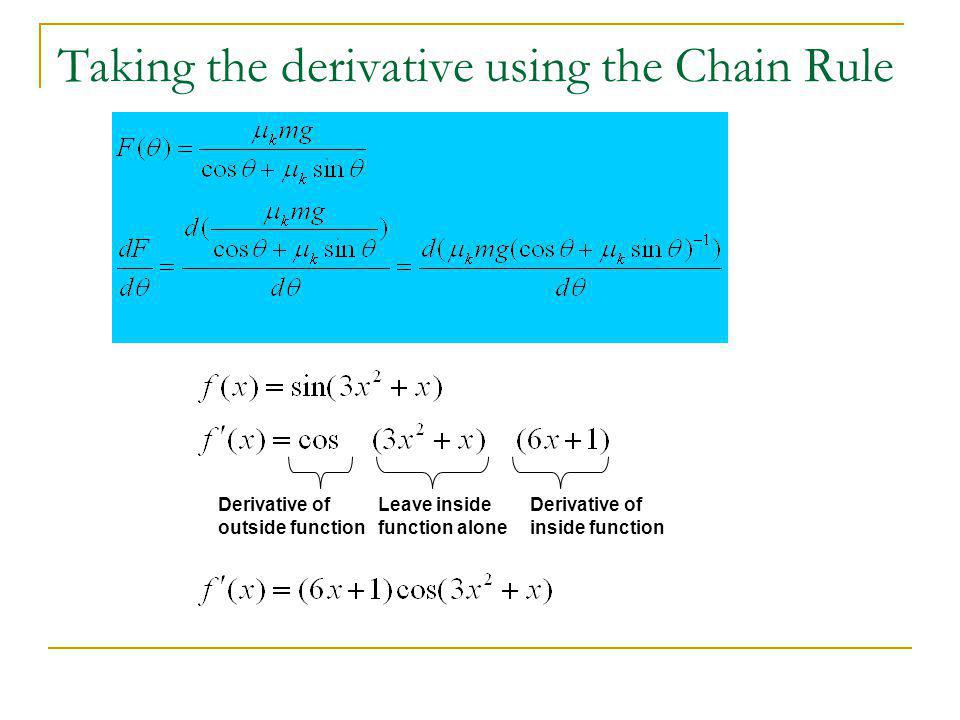 Taking the derivative using the Chain Rule