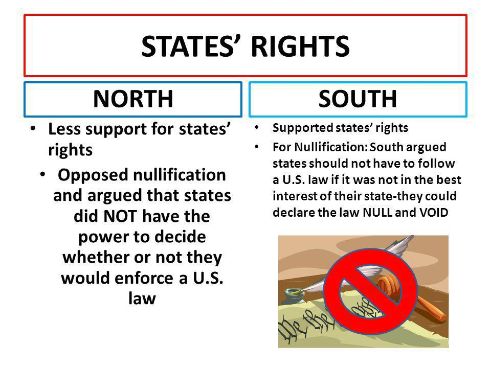 STATES' RIGHTS NORTH SOUTH Less support for states' rights