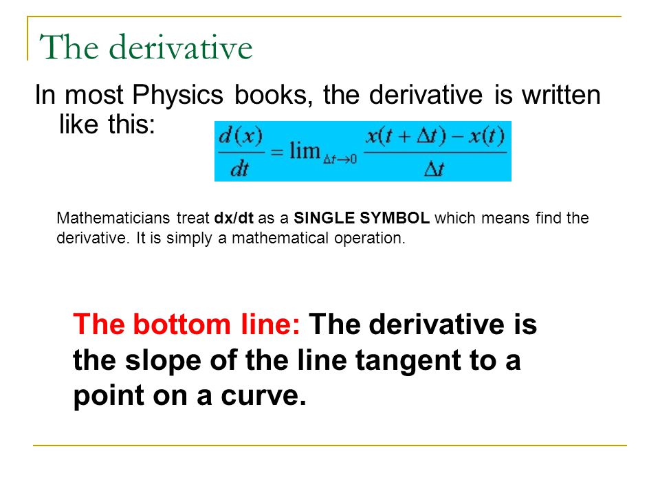 The derivative In most Physics books, the derivative is written like this:
