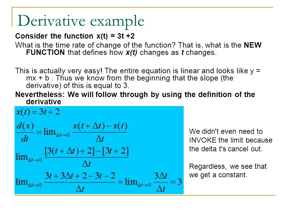 Derivative example Consider the function x(t) = 3t +2