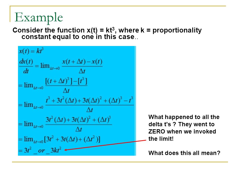 Example Consider the function x(t) = kt3, where k = proportionality constant equal to one in this case..