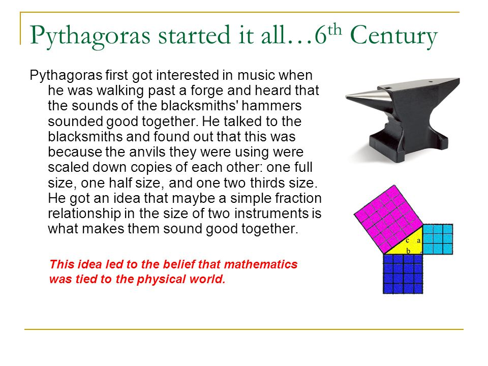Pythagoras started it all…6th Century