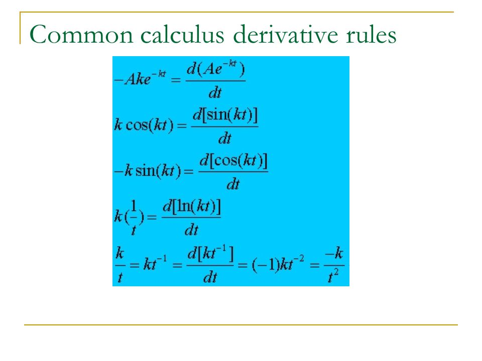 Common calculus derivative rules