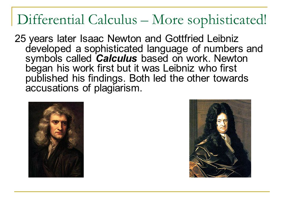 Differential Calculus – More sophisticated!