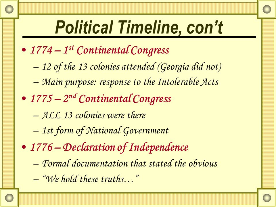 Political Timeline, con't