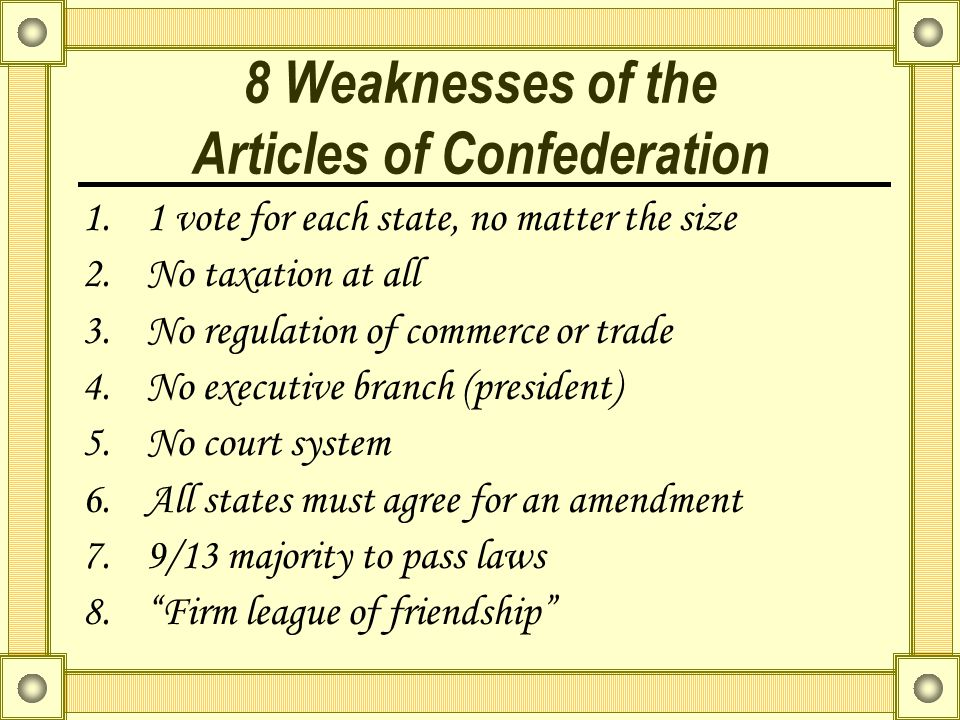 8 Weaknesses of the Articles of Confederation
