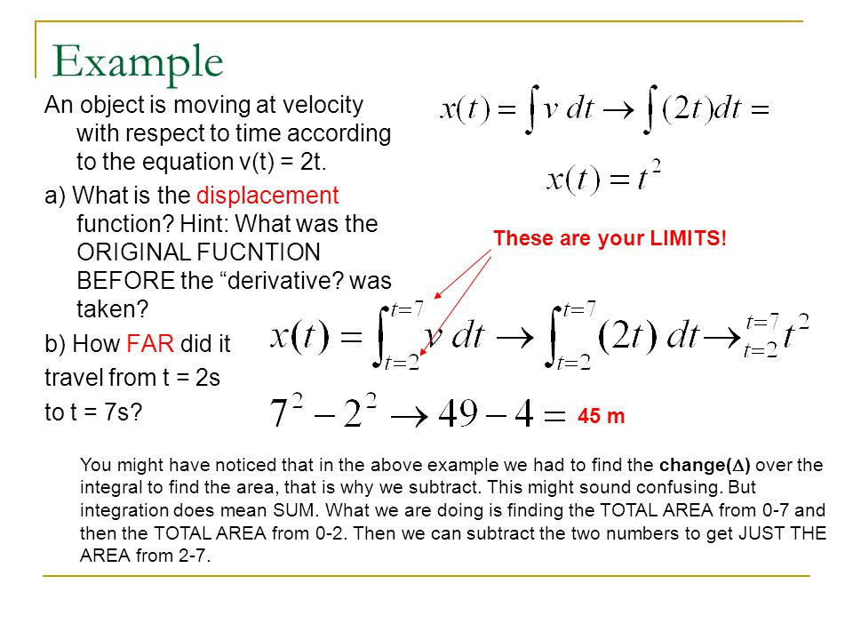 Example An object is moving at velocity with respect to time according to the equation v(t) = 2t.
