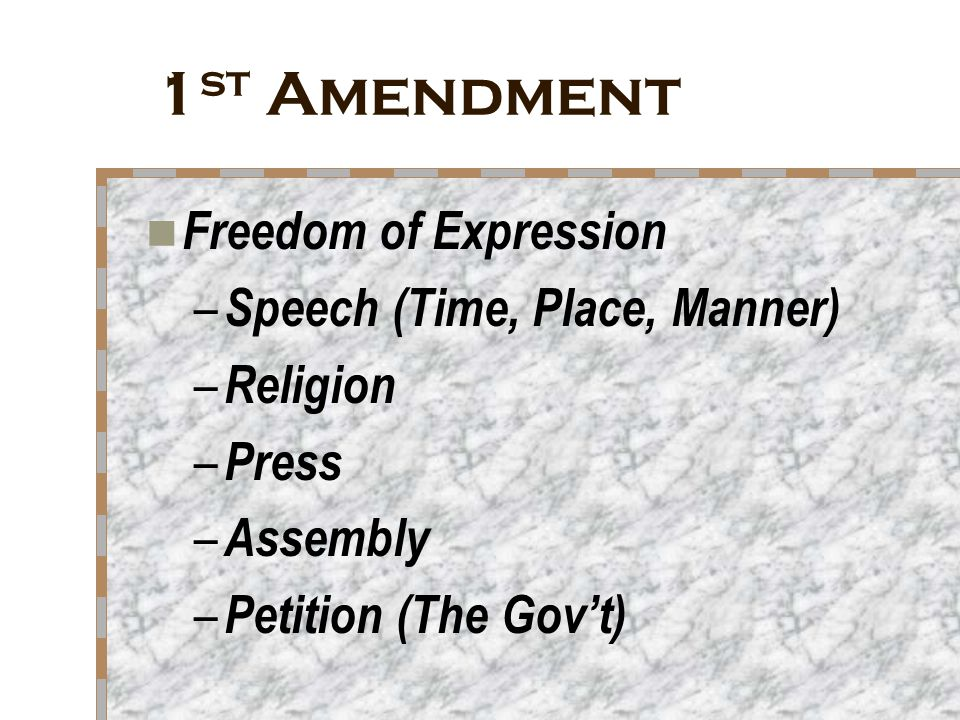 1st Amendment Freedom of Expression Speech (Time, Place, Manner)