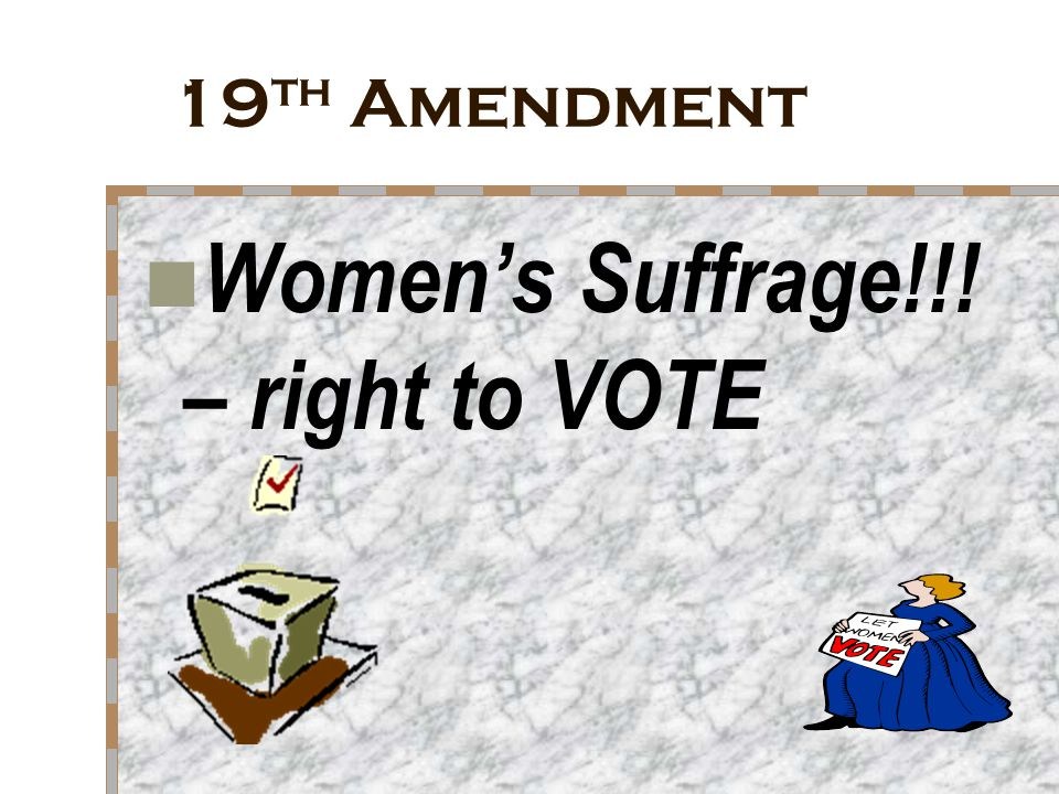 Women's Suffrage!!! – right to VOTE