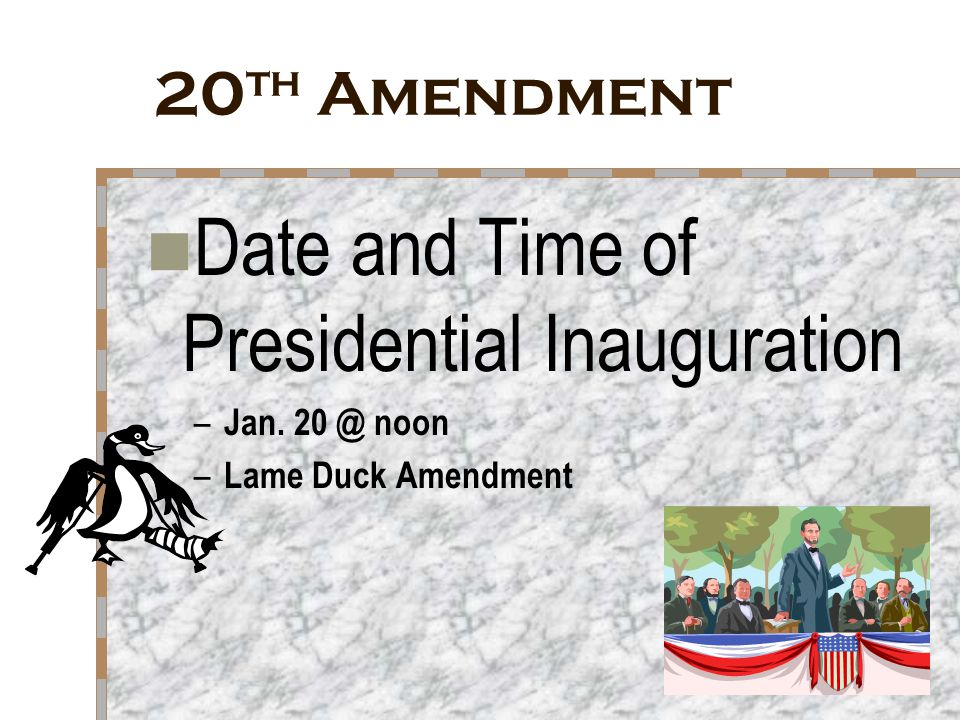 Date and Time of Presidential Inauguration