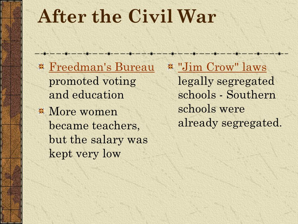 After the Civil War Freedman s Bureau promoted voting and education