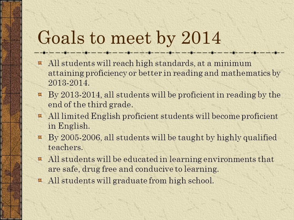 Goals to meet by 2014 All students will reach high standards, at a minimum attaining proficiency or better in reading and mathematics by 2013-2014.