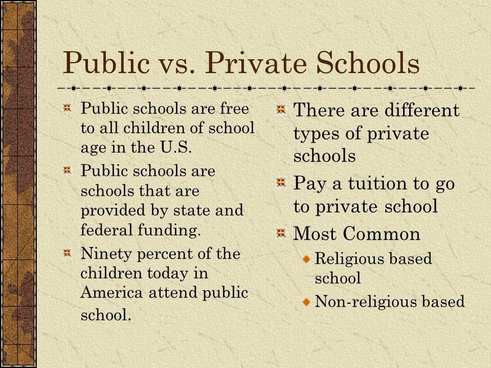 private schools vs public schools essays Private school vs public school comparison a private school is autonomous and generates its own funding through various sources like student tuition, private grants and endowments.