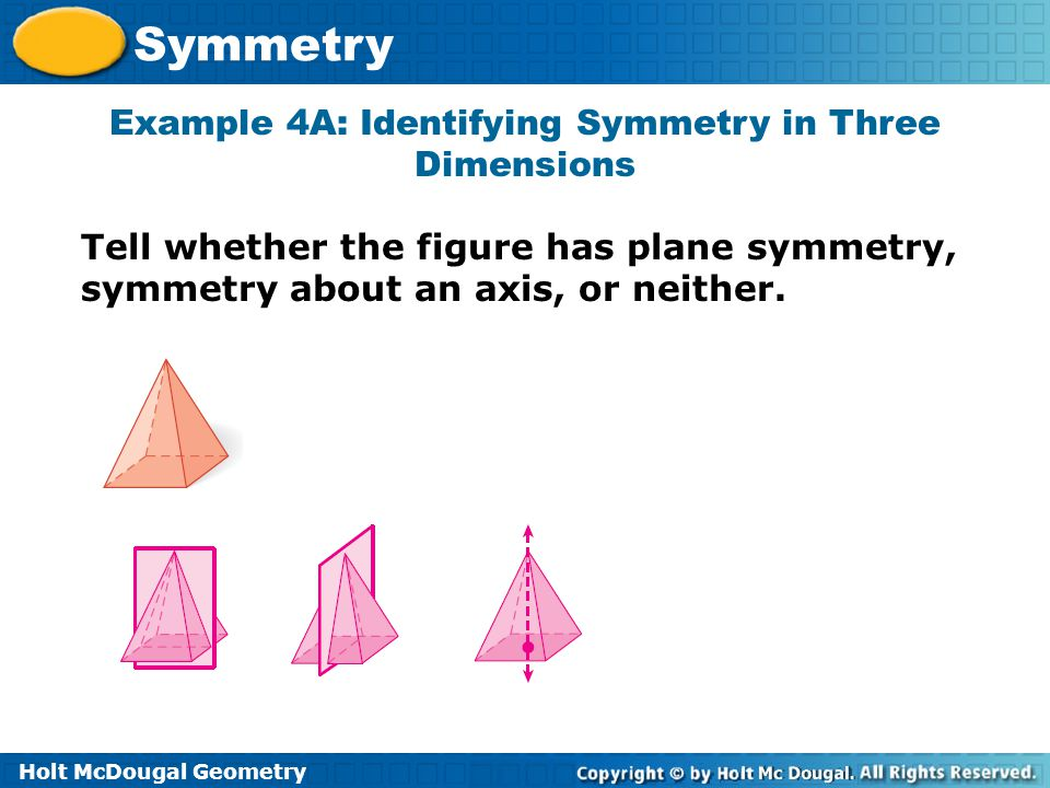 Example 4A: Identifying Symmetry in Three Dimensions