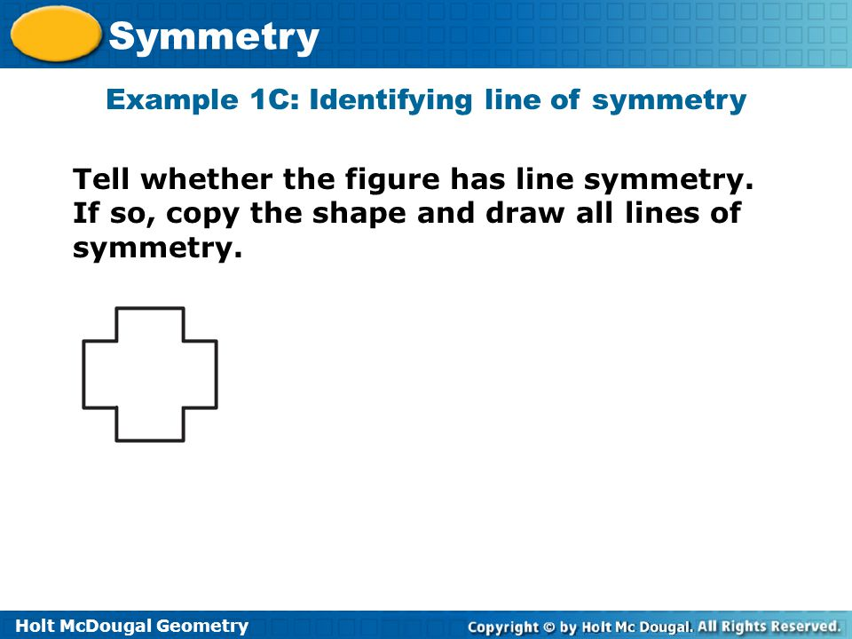 Example 1C: Identifying line of symmetry