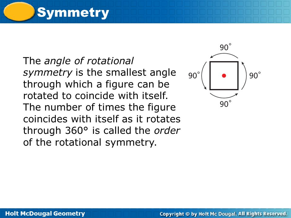 The angle of rotational symmetry is the smallest angle through which a figure can be rotated to coincide with itself.