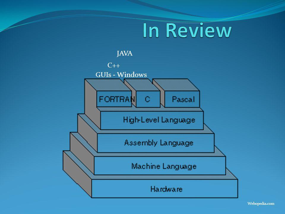 In Review JAVA C++ GUIs - Windows Webopedia.com
