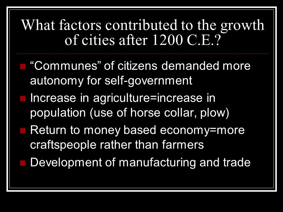 What factors contributed to the growth of cities after 1200 C.E.