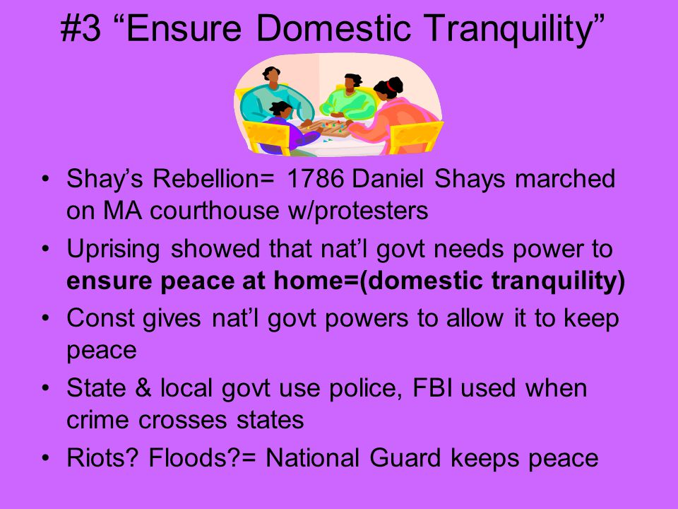 #3 Ensure Domestic Tranquility