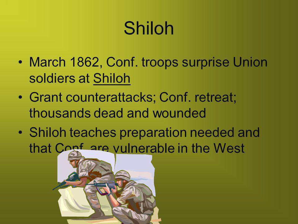 Shiloh March 1862, Conf. troops surprise Union soldiers at Shiloh