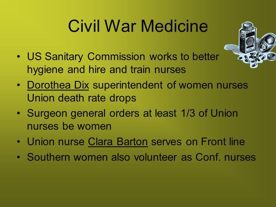 Civil War Medicine US Sanitary Commission works to better hygiene and hire and train nurses.