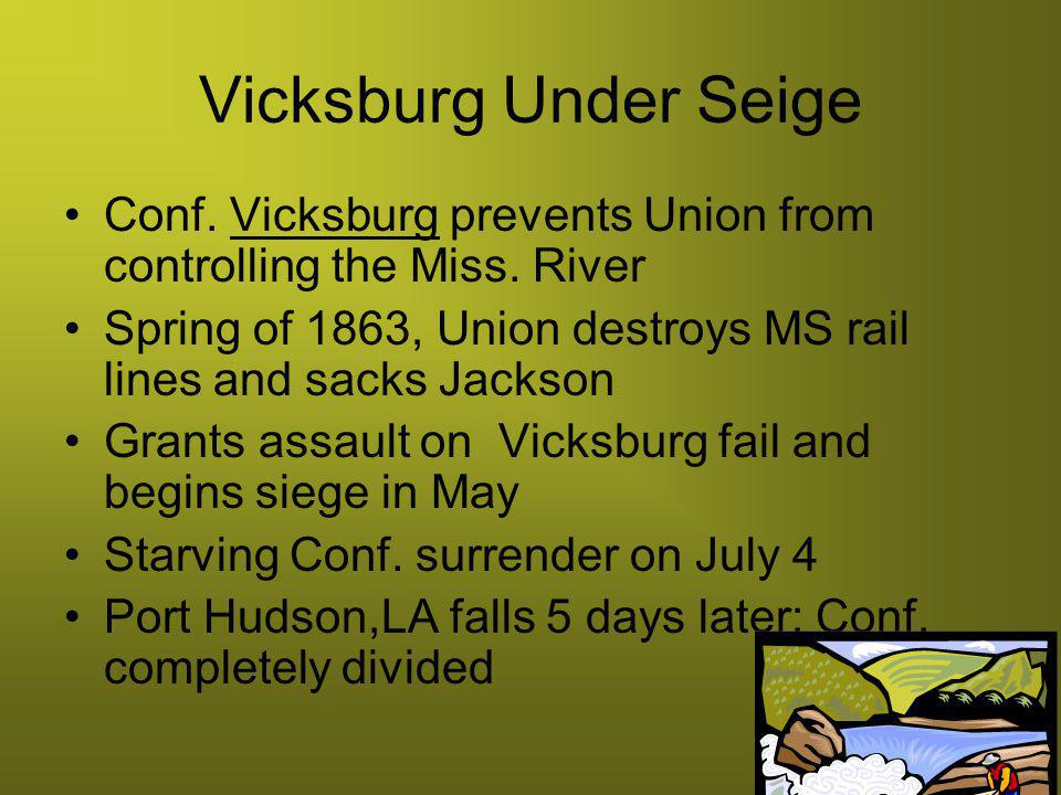 Vicksburg Under Seige Conf. Vicksburg prevents Union from controlling the Miss. River.