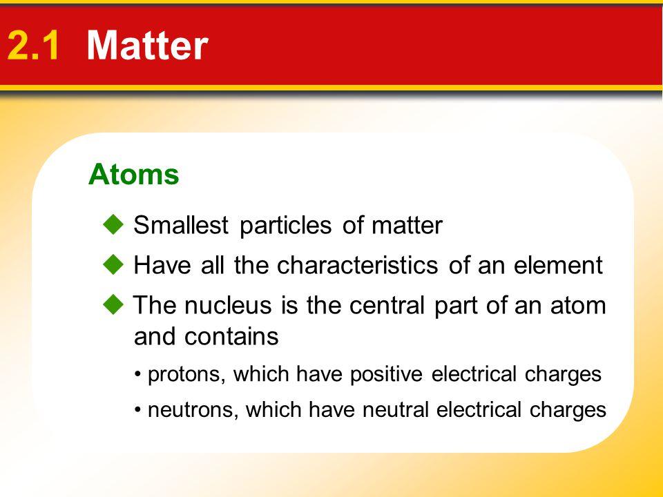 2.1 Matter Atoms  Smallest particles of matter