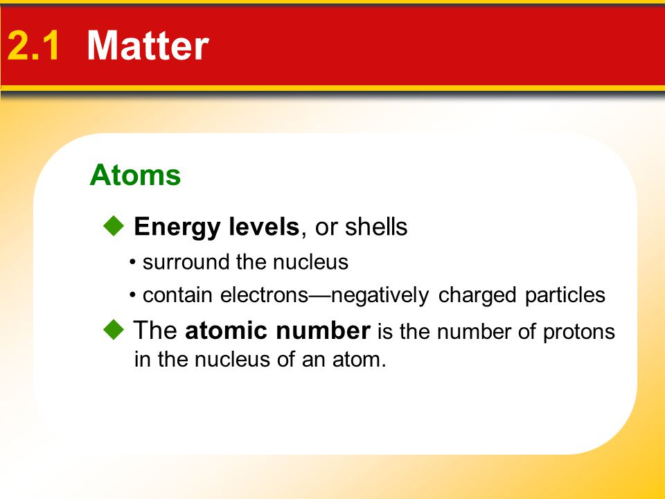 2.1 Matter Atoms  Energy levels, or shells