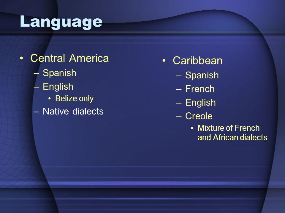 Language Central America Caribbean Spanish Spanish English French