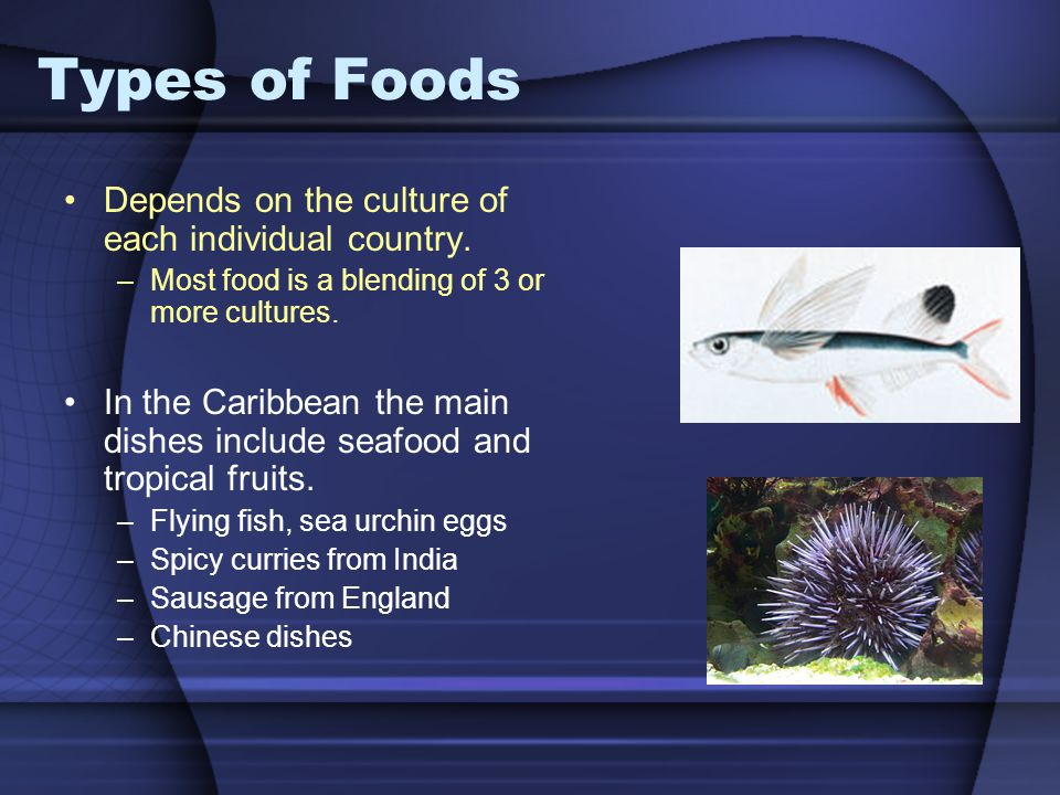 Types of Foods Depends on the culture of each individual country.