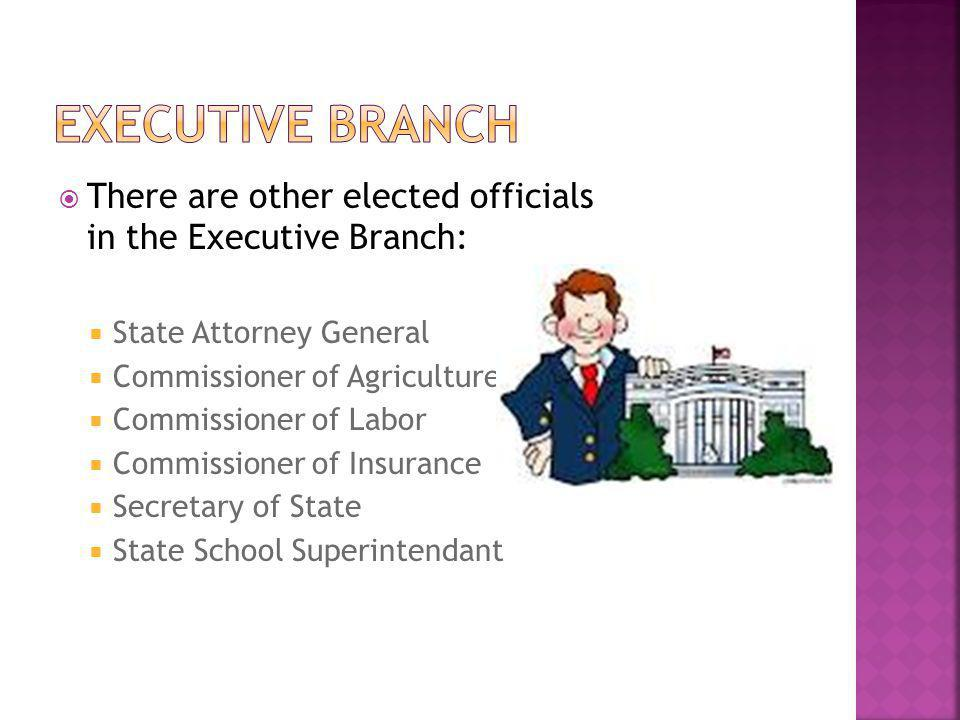 Executive Branch There are other elected officials in the Executive Branch: State Attorney General.