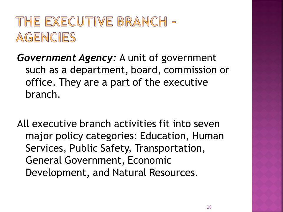 The Executive Branch - Agencies