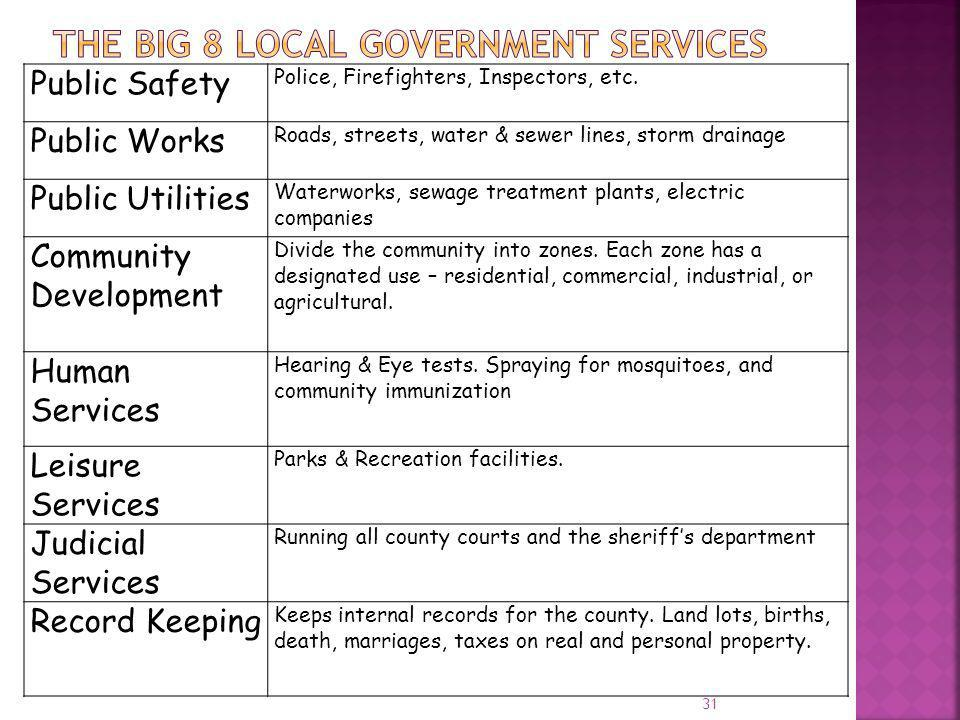 The Big 8 Local Government Services