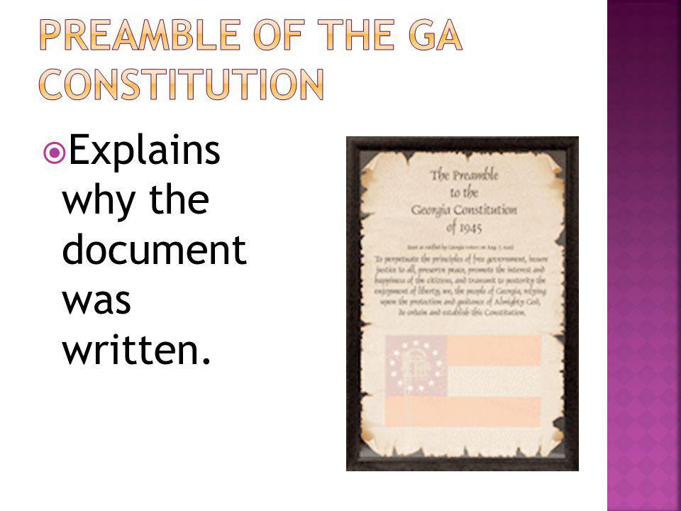 Preamble of the GA Constitution