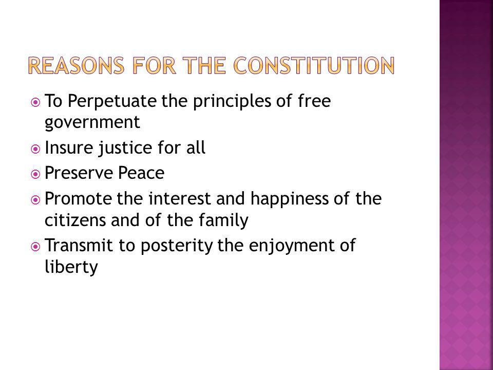Reasons for the Constitution