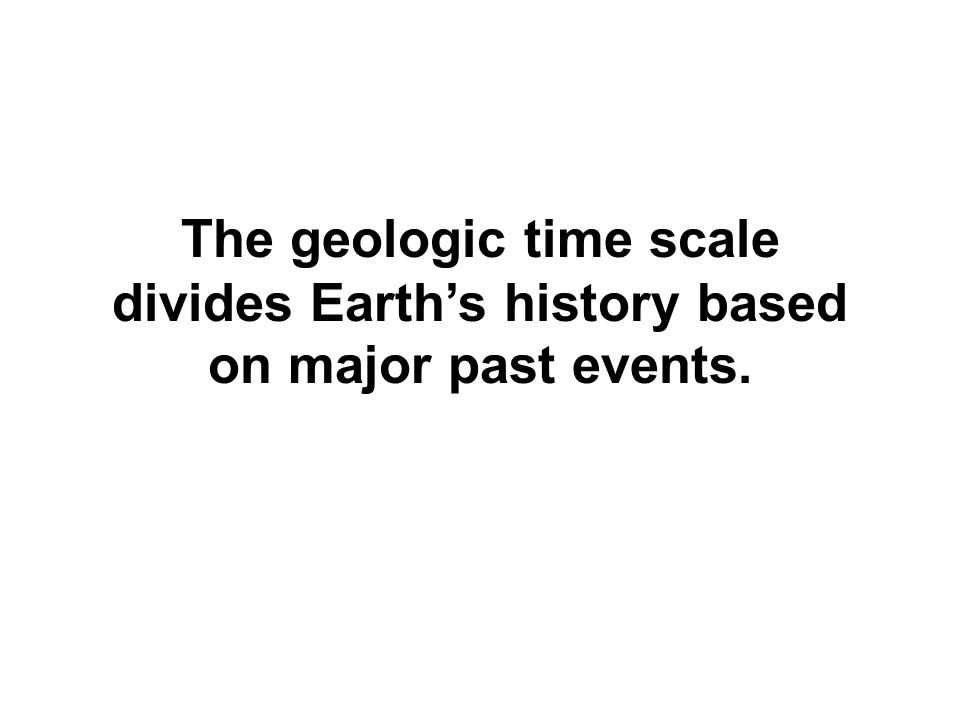 The geologic time scale divides Earth's history based on major past events.