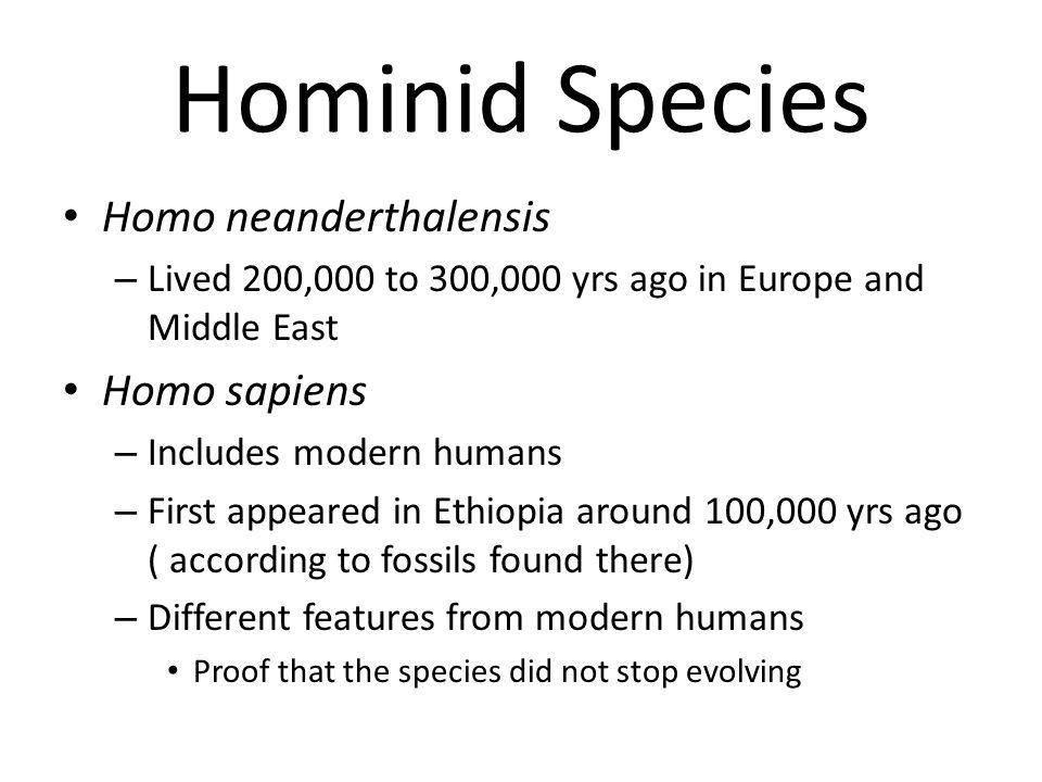 Hominid Species Homo neanderthalensis Homo sapiens