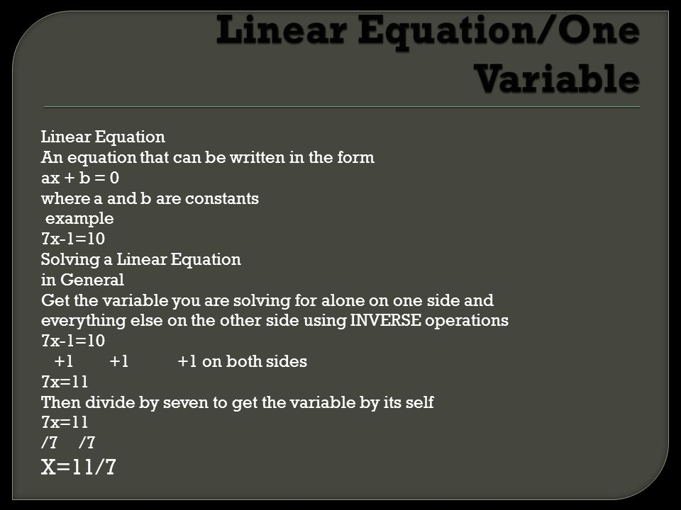 Linear Equation/One Variable