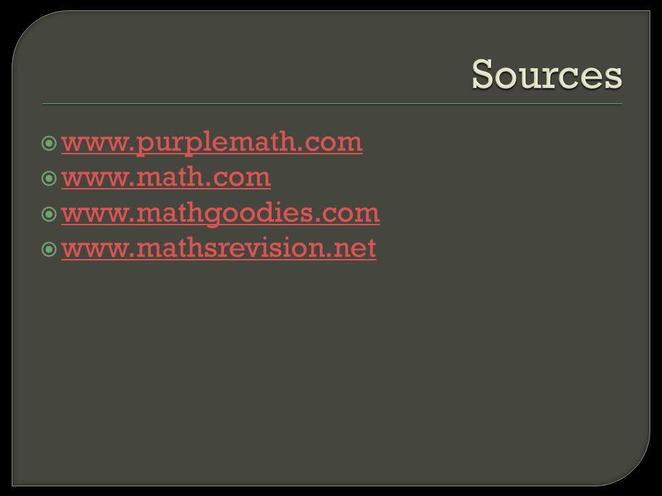 Sources www.purplemath.com www.math.com www.mathgoodies.com