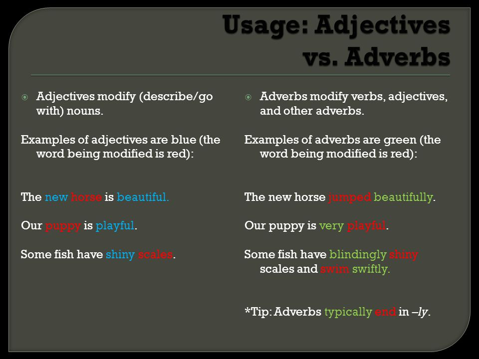 Usage: Adjectives vs. Adverbs