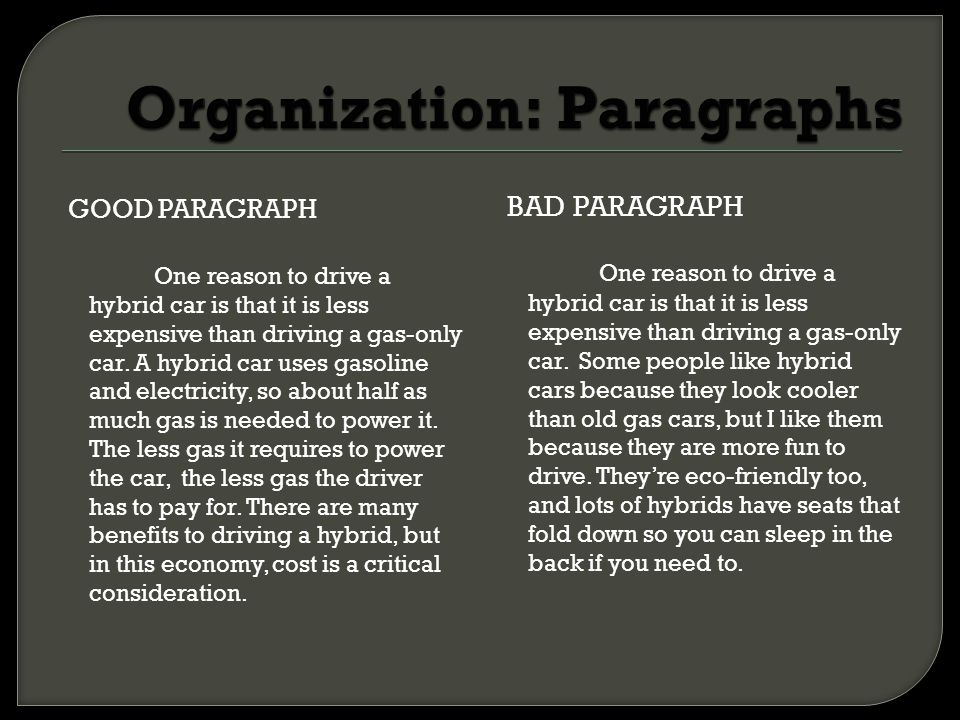 Organization: Paragraphs