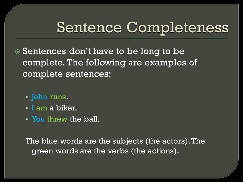 Sentence Completeness