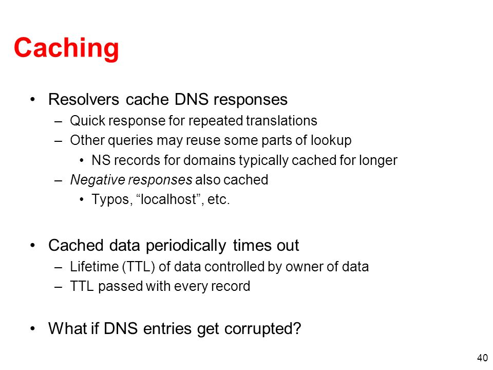 Caching Resolvers cache DNS responses