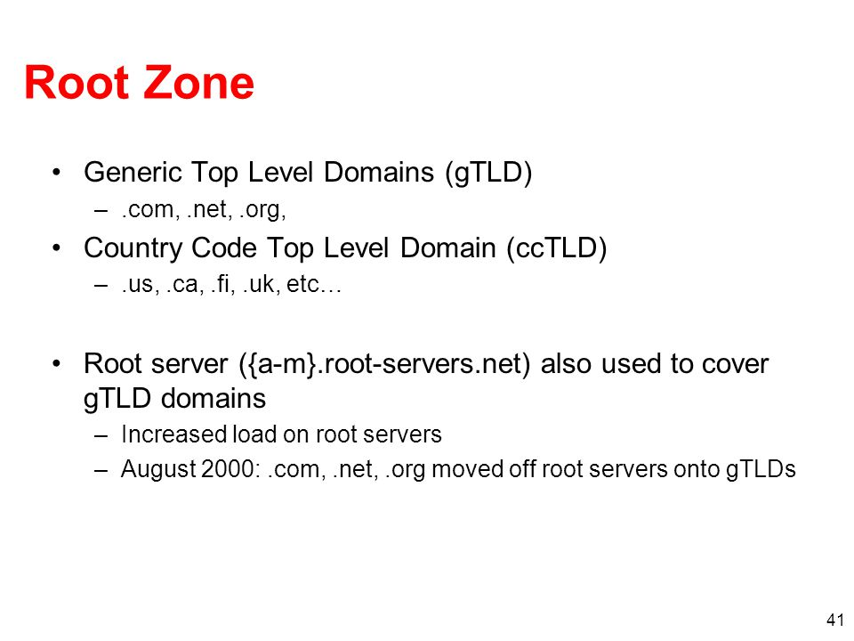 Root Zone Generic Top Level Domains (gTLD)